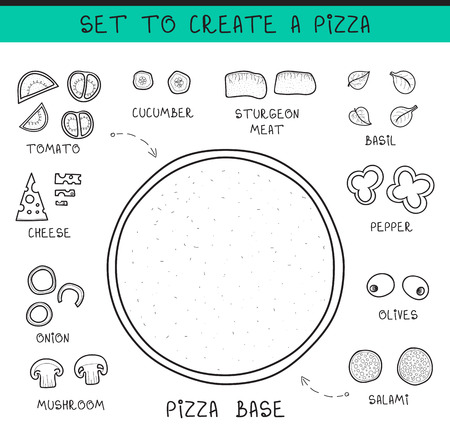 assemble: Doodle set of ingredients to build  pizza. Template pizza. Sliced vegetables. Sketch pizza. Doodle pizza. Assemble the pizza. Tomatoes and cucumbers. The dough and olives. Salami and meat. Cheese