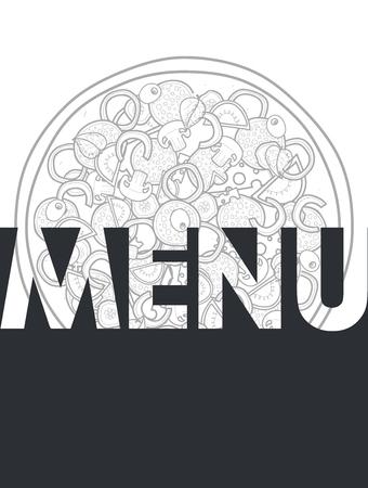 pizza: Menú de diseño de fondo del doodle de pizza con ingredientes. La pizza del bosquejo por todo el fondo. La pizza detallada. El fondo para el menú del restaurante. Menú Diseño. Pizza de la historieta Vectores