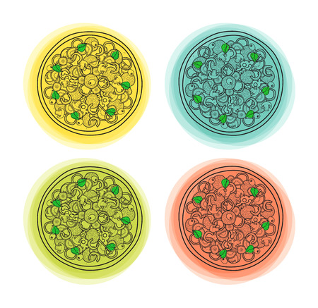 color backgrounds: Set of 4 doodle isolated pizzas with different color backgrounds. Symbol fast food. Sketch pizza. Objects food design. Handmade Pizza