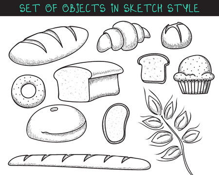 bread roll: Set of 10 doodle bread baking. Sketch bread. Doodle roll. Baguette handmade. Painted pastries. Doodle bread. Painted bread. Bakery products