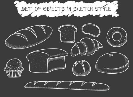 Set of 10 bread baking doodle drawn in chalk. Sketch bread. Doodle roll. Baguette handmade. Painted pastries. Doodle bread. Painted bread. Bakery products Illustration