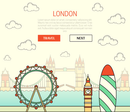 gherkin building: London, England view of street with sights in flat style with doodle element. Background with button for site. Things to do around the city. Stylized city. Watches and ferris wheel. Skyscraper. Bridge