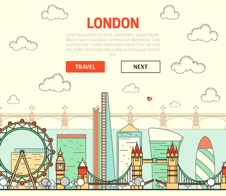 London, England view of street with sights in flat style with doodle element. Background with button for site. Things to do around the city. Stylized city. Watches and ferris wheel. Skyscraper. Bridge