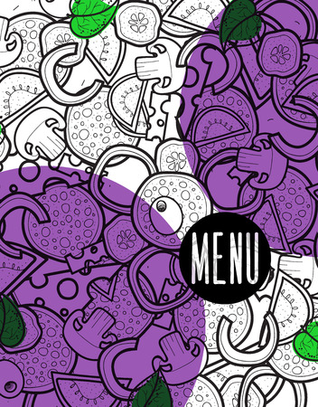 cheese cartoon: Design menu background doodle of pizza with ingredients. Sketch pizza for the entire background. Detailed pizza. The background for the restaurant menu. Design menu. Cartoon pizza