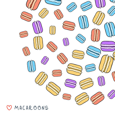 meringue: Background of scattered colored doodle macaroon for design. Sketch macaroons. Background with dessert. Background for baking. Baking handmade. Template