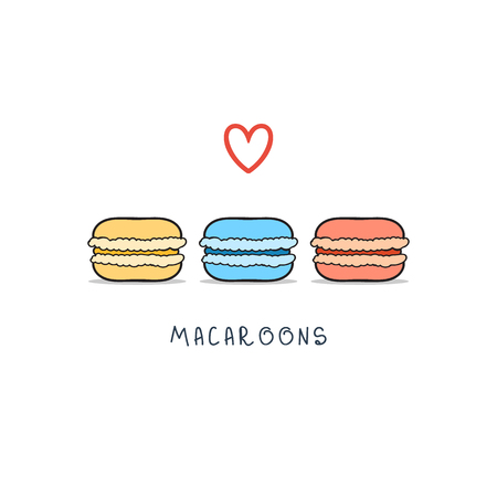 macaroon: Set of isolated colorful doodle macaroon. Sketch macaroon. Macaroons handmade. Objects for design. French dessert Illustration