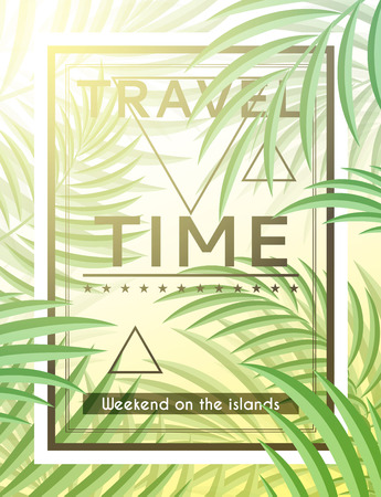 Exotic background with palm leaves and frame for design hipster style. Frame with leaves. Hipster background. Background for tourism advertising