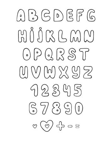 Set line font doodle. Cartoon characters. Sketch alphabet. Bubble font. Children's alphabet. Plump letters by hand. Holiday Fonts. Comic Fonts