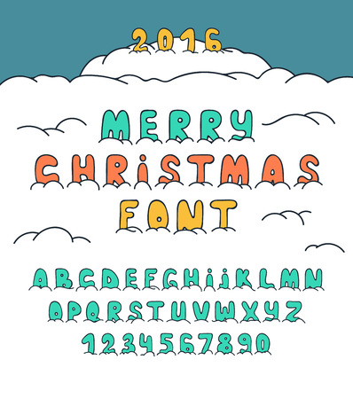 plump: Christmas doodle set font under the snow. Font in snow. Cartoon letters and numbers. Sketch alphabet. Bubble font. Letters in snow. Font for new year. Plump letters by hand. Holiday Fonts. Comic Fonts