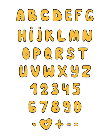 plump: Set color font doodle. Cartoon characters. Sketch alphabet. Bubble font. Childrens alphabet. Plump letters by hand. Holiday Fonts. Comic Fonts Illustration