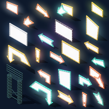 street signs: Set of 23 arrow signs night lights and billboards with shadow in isometric. Billboard at night. Roadside arrows. Real objects. Isolated. Detail poster stand. Volume street signs. Realistic Perspective