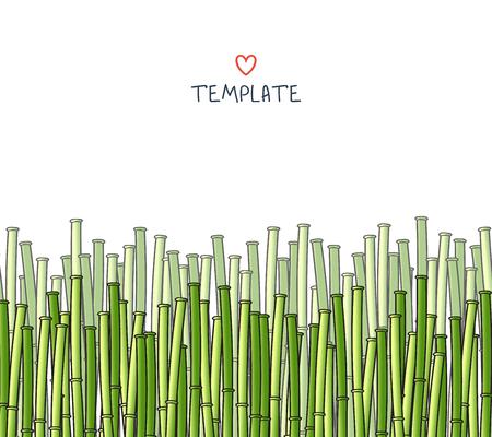 japones bambu: Plantilla con un bambú. Fondo japonés. Un fondo con un bambú. Una de bambú para el diseño y presentaciones. Tallos de bambú. Ramificaciones de bambú Vectores