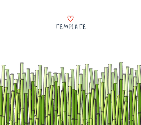 in japanese: Template with a bamboo. Japanese background. A background with a bamboo. A bamboo for design and presentations. Bamboo stalks. Bamboo branches Illustration