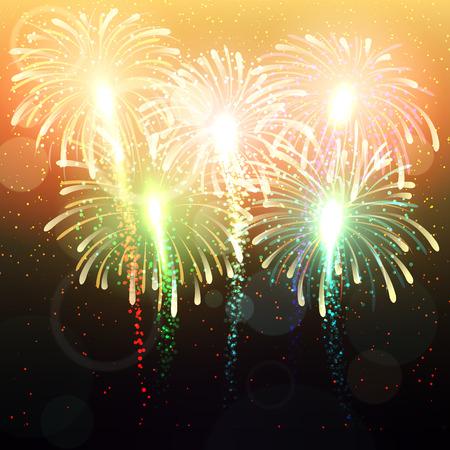 fuegos artificiales: fondo con saludo. Fuegos artificiales de colores brillantes. Resumen de antecedentes. Ilustración Salute.