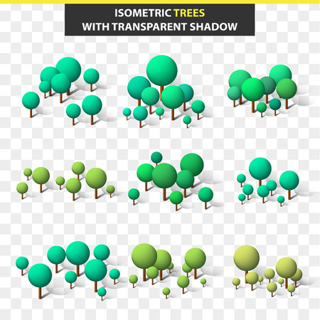 3D set of trees in an isometry with a transparent shadow. Isometric trees. Trees for compositions, a collage and design. A glade of trees for a city landscape