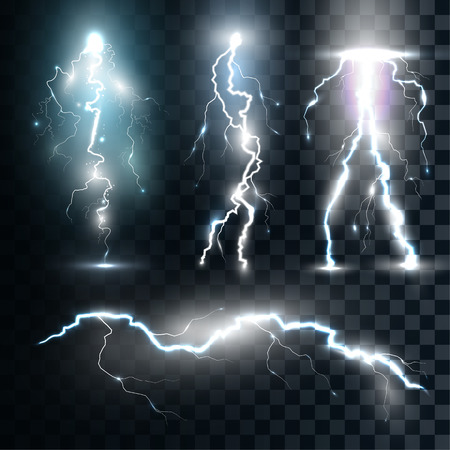 Set of the isolated realistic lightnings with transparency for design. Thunder-storm and lightnings. Magic and bright lighting effects. Natural effects