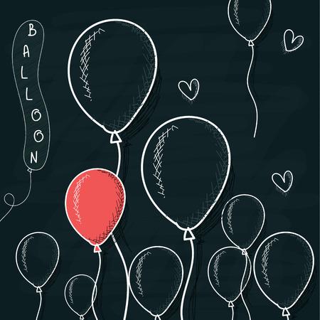 Doodle ballonnen getekend met krijt op een bord. Cartoon bollen. Handwerk ballon. Sferen voor het ontwerp. Achtergrond met bollen voor het ontwerp