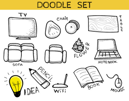 furniture idea: Doodle set of elements of an interior of handmade. Sketch furniture. Chair and table. Beanbag and sofa. Wifi and Tv. Flower and lamp. Idea and pencil. Laptop and mouse. Book and notebook