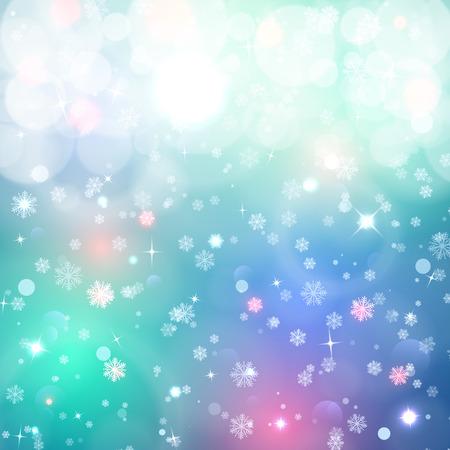 Światła: Boże Narodzenie w tle. Śnieg, blured tła. Tło dla projektu. Tło z płatki śniegu i gwiazdy świecące. Efekty świetlne. Zima, magia tle
