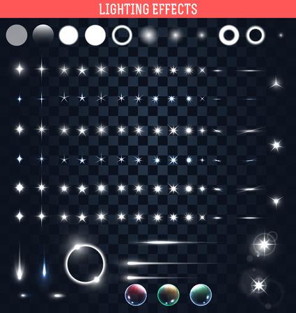 magie: Big ensemble de l'éclairage effet isolé. Magie, lumineux, des taches de lumière brillante. Étoile brillante. Effet pour le fond et le design. Patchs lumière de la lumière. Étoiles brillantes. Ensemble d'effets. Effet réaliste