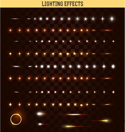 Grote reeks van verlichting geïsoleerde effect. Magie, heldere, briljante lichtvlekken. Schijnende ster. Effect voor de achtergrond en design. Lichte vlekken van licht. Heldere sterren. Set van effecten. Realistisch effect Stockfoto - 46667052