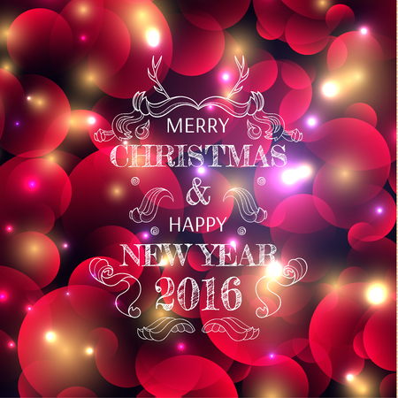 a glamour: The New Years color shining background with a Christmas inscription. A background for cards. Blured background. Lighting effects. Bright Christmas background. Festive background