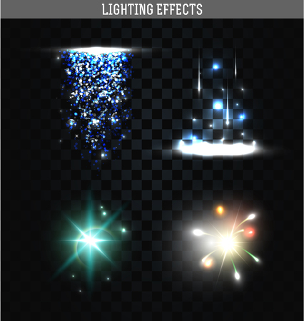 Set of lighting isolated effect. Magic, bright, brilliant patches of light. Shining star. Effect for background and design. Light patches of light. Bright stars. Set of effects. Realistic effect Banco de Imagens - 46667504
