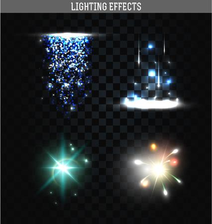 Set van verlichting geïsoleerde effect. Magie, heldere, briljante lichtvlekken. Schijnende ster. Effect voor de achtergrond en design. Lichte vlekken van licht. Heldere sterren. Set van effecten. Realistisch effect