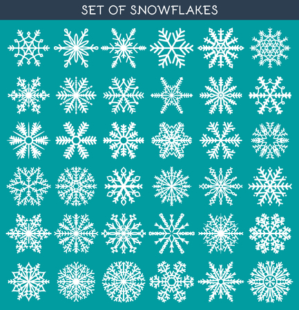 symbol decorative: Set 36 white different snowflakes of handwork for design. New Years symbols. Snowflakes for design. Winter objects. Festive elements. Snowflake Doodle. Snowflake Sketch