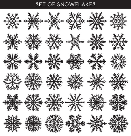 snowflake set: Set 36 black different snowflakes of handwork for design. New Years symbols. Snowflakes for design. Winter objects. Festive elements. Snowflake Doodle. Snowflake Sketch