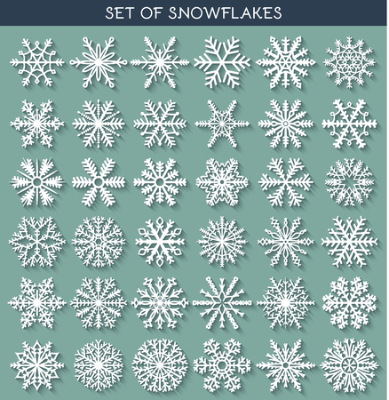 Set 36 white different snowflakes of handmade with long shadow. Snowflake Flat. New Year's symbols. Snowflakes for design. Winter objects. Festive elements. Snowflake Doodle. Snowflake Sketch Vettoriali