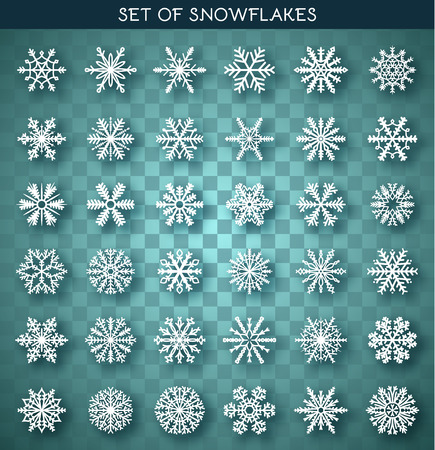 snowflake set: Set 36 white different snowflakes handmade with realistic shadow. Snowflake Flat. New Years symbols. Snowflakes for design. Winter objects. Festive elements. Snowflake Doodle. Snowflake Sketch