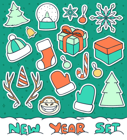 snow cap: Set of Christmas doodle sketch of objects for compositions and design. Snow sphere and gift. Christmas tree decoration and mittens. Cervine horns and conical cap. Symbol of 2016 year - the Monkey