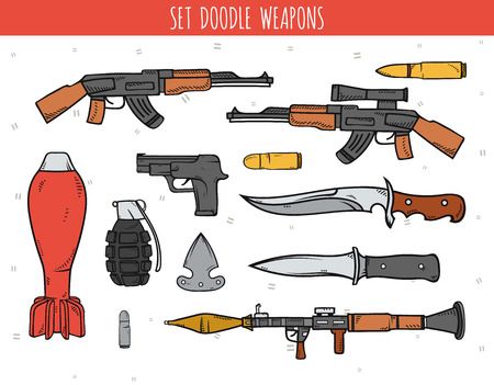 arsenal: Big doodle set of weapon, shells, handwork bombs. Machine gun. Doodle weapon. Sketch revolver and bullets. Explosive and bomb. Grenade and knife. Color drawn isolated weapon.