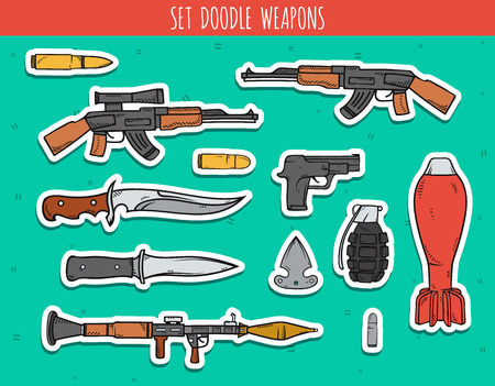 arsenal: Big doodle set sticker of weapon, shells, handwork bombs. Machine gun. Doodle weapon. Sketch revolver and bullets. Explosive and bomb. Grenade and knife. Color drawn isolated weapon. Illustration