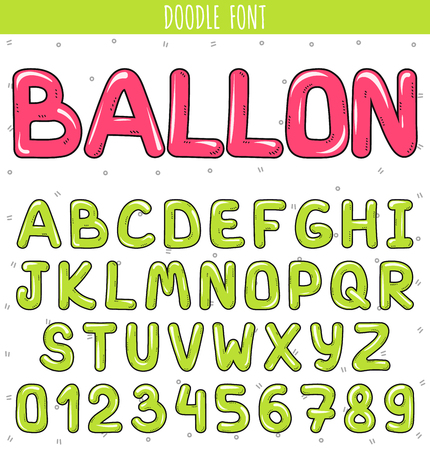 graffiti alphabet: Font ballon. Set volume of letters and numbers in the doodle. Letters drawn by hand. Childrens font. Font for a festive design. Beautiful color sketch cartoon set of letters. Green stylish Font Illustration