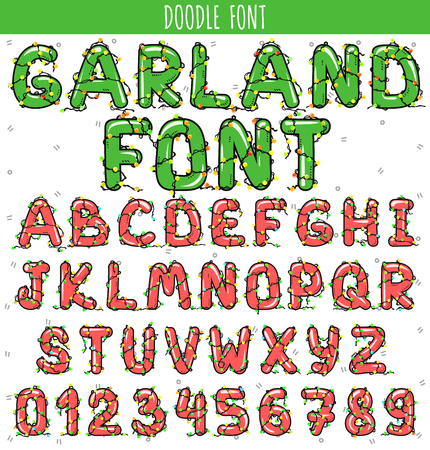 heading the ball: Font garland. New Year and Christmas Alphabet. Letters decorated with a garland. Lamps on the letters. Celebratory alphabet. Letters and numbers for decoration postcards. Font for celebratory design