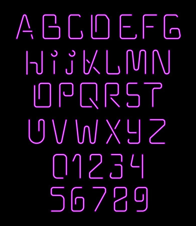 fluorescent lights: Font neon. Realistic brilliant, fluorescent font. Font for holiday decoration and design of brochures. Alphabet nightclub. Letters for signs of night. Bright letters and numbers