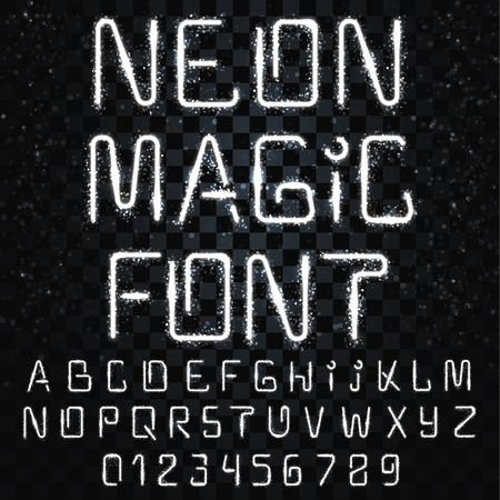 thunder: Font magic. Bright, shiny font. Electric letter. The letters and numbers with light effects. Font-style lightning storm. Futuristic font. Festive, fascinating alphabet for decoration and design Illustration