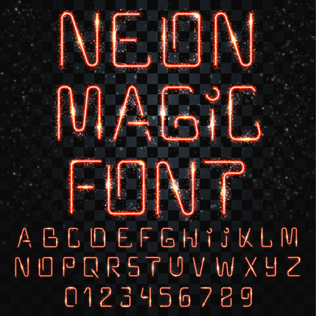 fascinating: Font magic. Bright, shiny font. Electric letter. The letters and numbers with light effects. Font-style lightning storm. Futuristic font. Festive, fascinating alphabet for decoration and design Illustration