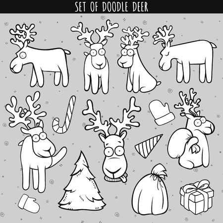 deer stand: Set deer doodle, different poses for design, decor. Deer sitting and standing. Head deer. Christmas deer. Deer for postcard, brochures. Festive design. Gift, Christmas tree. Bag, glove and candy Illustration