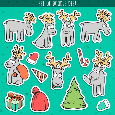 deer: Set deer doodle, different poses for design, decor. Deer sitting and standing. Head deer. Christmas deer. Deer for postcard, brochures. Festive design. Gift, Christmas tree. Bag, glove and candy Illustration