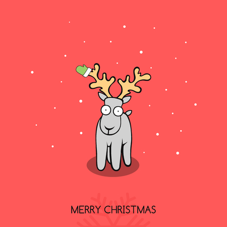 acabado: Christmas doodle greeting card with a deer. Deer with mittens on horns. Deer congratulates Snowflakes and stars on the background. Festive inscription. Creative Christmas and New Year finished design Vectores