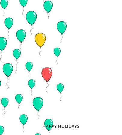 departing: Festive card with balloons. Departing spheres. Festive card for congratulations. Holiday banner with balloons Illustration