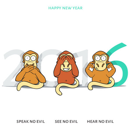 triplets: Three wise monkeys and New Years inscription. 2016 of a red monkey. Greeting card. New Years design with a monkey for 2016. Ready design for the press of festive production Illustration