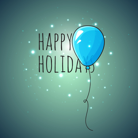 lighting effects: Festive card with blue balloons. Departing spheres. Festive card for congratulations. Holiday banner with balloons on dark background and lighting effects Illustration