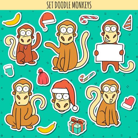 Year of red monkey. Doodle set of monkeys sticker. Chinese horoscope. Philosophical monkeys. Monkey for design congratulatory cards. Symbol of new year. Monkey waves, congratulates, looks, head monkey