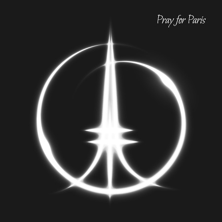 peace concept: Pray for Paris. Peace for Paris. White lighting effects. A tragedy symbol in Paris. Peace sign and Eiffel Tower. Handwork symbol. The peace sign drawn by hand and the Eiffel Tower