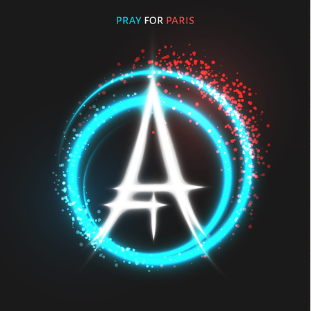 symbol of peace: Pray for Paris. Peace for Paris. Lighting effects in flag colors. A tragedy symbol in Paris. Peace sign and Eiffel Tower. Handwork symbol. The peace sign drawn by hand and the Eiffel Tower