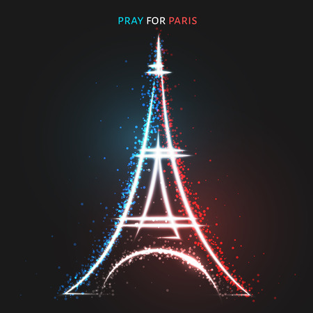 peace symbols: Pray for Paris. Peace for Paris. Lighting effects in flag colors. A tragedy symbol in Paris. Peace sign, Eiffel Tower. Handwork symbol. The sign drawn by hand the Eiffel Tower